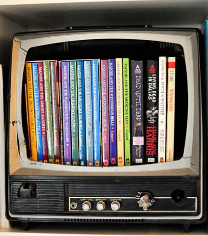 books inside tv